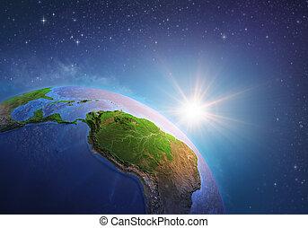 briller, amazonia, espace, soleil, sur