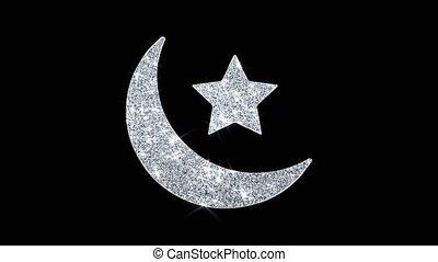 briller, clignotant, islamique, boucle, eid, scintillement, particules, icône