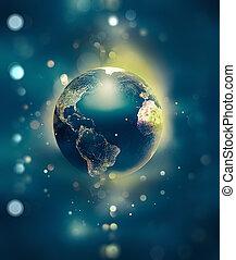 briller, mondiale, espace, flotter