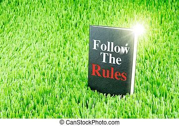 """briller, noir, livre, sur, herbe, à, """", suivre, les, règles, """", mot, business, et, education, concept"""