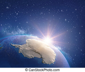 briller, sur, espace, antarctique, soleil