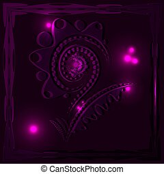 Brilliant bright purple large flower in a carved neon frame.