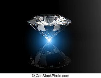 brilliant cut diamond perspective on black background