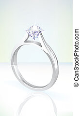 brilliant diamond engagement ring in white gold, set on a ...