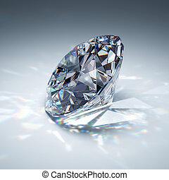 Brilliant diamond on blue background