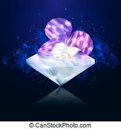 Brilliant diamond on the dark blue background for jewelry.
