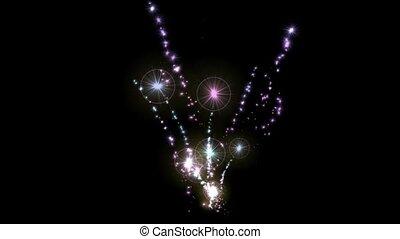 Brilliant fireworks and stars halo