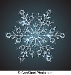 Brilliant glitter texture snowflake isolated on dark background. Glossy snowflake for Happy New Year and Merry Xmas event decoration. Precious and luxury winter season design vector illustration.