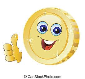 brilliant gold coin