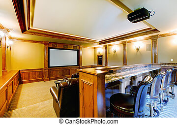 Brilliant home theater with bar. - Brilliant and cozy home...