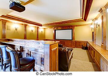 Brilliant home theater with bar.