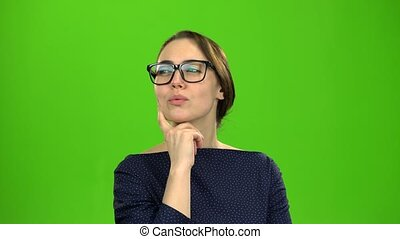 Brilliant idea comes to a woman, wow. Green screen -...