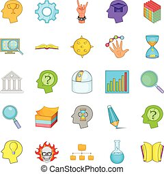 Brilliant idea icons set, cartoon style - Brilliant idea...