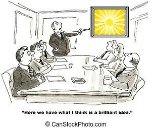 Brilliant Idea - Cartoon of businessman complimenting the...