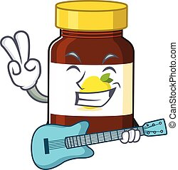 brilliant musician of bottle vitamin c cartoon design playing music with a guitar. Vector illustration