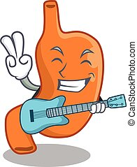 brilliant musician of stomach cartoon design playing music with a guitar