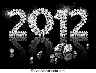 Brilliant New Year 2012 is a diamond jewelry illustration on...