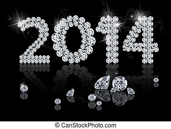 Brilliant New Year 2014 is a diamond jewelry illustration on...