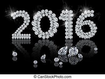 Brilliant New Year 2016 is a diamond jewelry illustration on...