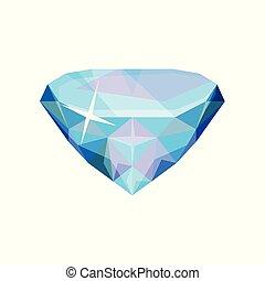 Brilliant precious stone, transparent crystal gem vector Illustration on a white background