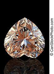 Brilliant shape of heart. Cognac diamond