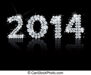 Brilliant text for the new year 2014. Vector