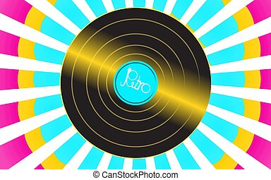 Brilliant vinyl musical analogue retro old antique hipster vintage gramophone record for a vinyl gramophone and an inscription retro against a background of colorful abstract rays. Vector illustration