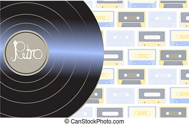 Brilliant vinyl musical analogue retro old hipster vintage gramophone record for a vinyl gramophone with an inscription of a retro against a background of multi-colored audio cassettes. Vector illustration
