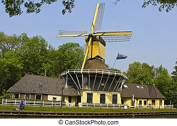 Brilliant Yellow Dutch Windmill