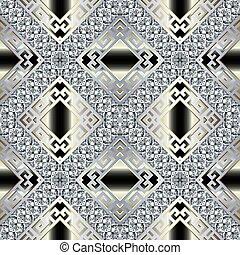 Brilliants 3d vector seamless pattern. Greek ornamental jewelry background. Abstract geometric repeat gradient backdrop. Greek key meanders diamonds ornament with brilliant gemstones, stripes, rhombus