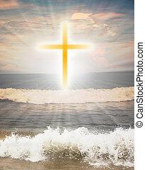 brillo, cristiano, sol, símbolo, cruz, contra, religioso