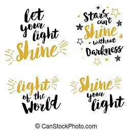 brillo, -, letras, cristiano, conjunto, su, dejar, luz