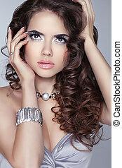 Brillo, mujer, belleza,  bru, largo, ondulado, retrato, Maquillaje, pelo, Moda