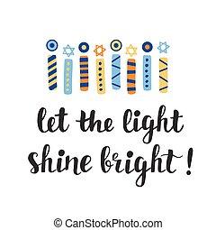 brillo, tarjeta, hanukkah, bright., luz, dejar, saludo
