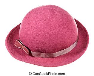 brims, large, femme, feutre, magenta, chapeau
