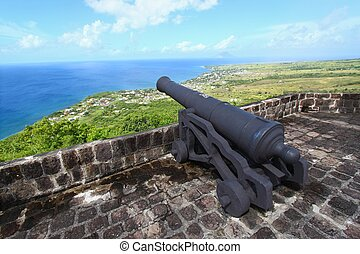 Brimstone Hill Fortress - St Kitts - A cannon faces the ...