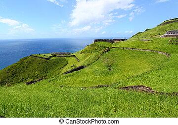 Brimstone Hill Fortress - St Kitts - The coastline at...