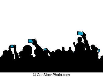 brin, smartphones, spectateurs