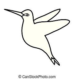 brin, vecteur, fleurs, illustration, colibri