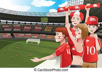 brinca fãs, em, um, estádio