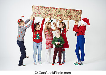 brincalhão, crianças, tendo, um, divertimento, em, natal