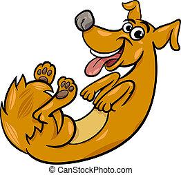 brincalhão, cute, cão, ilustração, caricatura