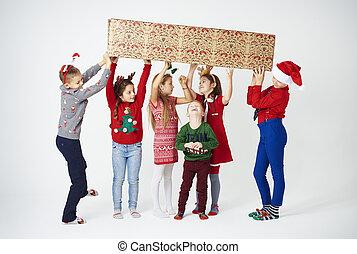brincalhão, divertimento, crianças, natal, tendo