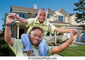 brincalhão, frente, pai, lar, filho