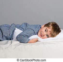 brincalhão, menino, desgastar, azul, pijamas, cama