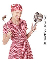 brincalhão, panela, dona de casa, ladle