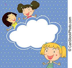 brincalhão, papelaria, meninas, três, jovem