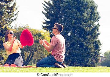 brincalhão, par, park.