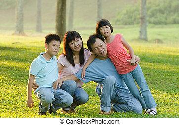 brincalhão, sendo, retrato, outddor, família, ao ar livre, mentindo, sorrindo