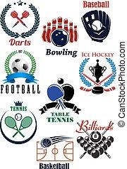 brincando, competição, emblemas, com, heraldic, projete elementos